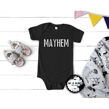Matching Baby Onesuit Mayhem Family Outfits Mom Graphic Tee