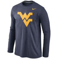West Virginia Mountaineers Nike Tri-Blend Long Sleeve T-Shirt – Navy Blue