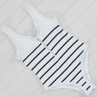 One Piece Striped Swimsuit