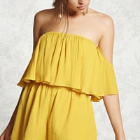 Satin Off-the-Shoulder Romper