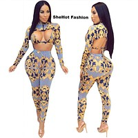Women Sexy Three Piece Long Sleeve Printed Top-Bra-Pant Set