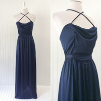 1970s indigo blue ultra draped jersey knit maxi dress double cross straps halter // empire waist grecian goddess // size M