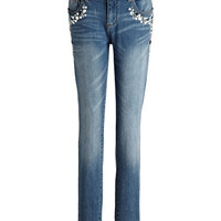 Tinsel Embellished Stretch-Cotton Skinny Jeans