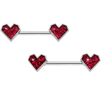 "14 Gauge 9/16"" Red Valentine Heart Barbell Nipple Ring Set"