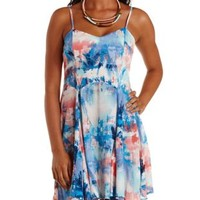 Ivory Combo Abstract Tropical Print Skater Dress by Charlotte Russe