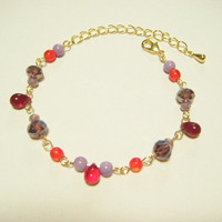 Red and purple bracelet, beaded bracelet, glass beads and teardrop czech beads bracelet, gift for her, gift under 10, ready for ship.
