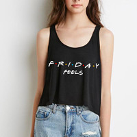 "Friends TV Show F.R.I.E.N.D.S ""Friday Feels"" Boxy, Cropped Tank Top"