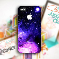 Purple Galaxy Nebula with Apple Logo Custom - Print On Hard Cover - For iPhone 4 / 4S case and iPhone 5 case