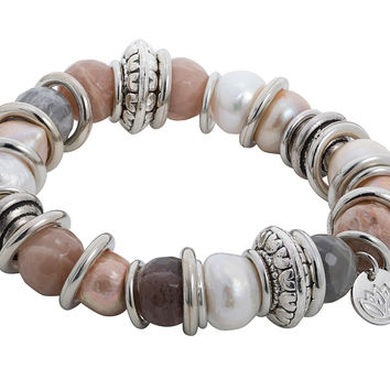 Stretchy Bracelet with Rose Gold Baroque Pearl, Agate and Stainless Steel Rings