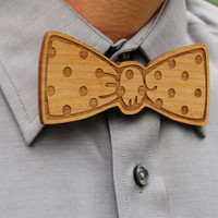 Wooden Laser Cut Bow Tie  Handsome Custom by AFlutteredCollection