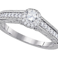 Diamond Bridal Ring with 0.33ct Center Round Stone in 14k White Gold 0.68 ctw
