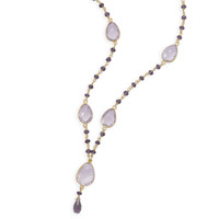18in 14 Karat Gold Plated Amethyst Necklace