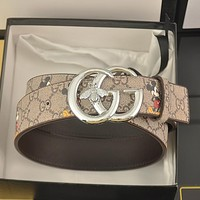 GUCCI GG men's and women's double G letter buckle smooth buckle belt
