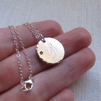 Personalized Sterling Silver Disc Pendant / Monogram Initial Necklace / Gift for her