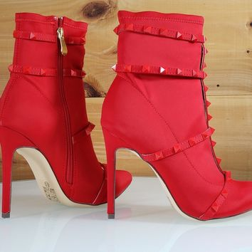 So Me Billie Red Pointy Toe High Heel Ankle Boot Cage Studded Straps