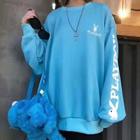 PLAYBOY New fashion bust and back embroidery letter rabbit and sleeve letter rabbit print couple long sleeve top sweater Blue