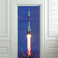 Door STICKER rocket space start aero mural decole film self-adhesive poster 30x79inch(77x200 cm)
