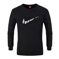 NIKE autumn and winter tide brand men's plus velvet round neck pullover casual sweater black