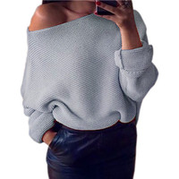 2017 Explosion Women Warm Sweaters Pullover 7 Colors Sexy Off Shoulder Batwing Sleeve Sweater Solid Sweaters Pullovers GV428