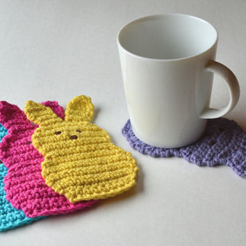 Easter Peeps Coasters, Set of 4, Marshmallow Candy Bunny Beverage Coasters, Adorable Spring Decor