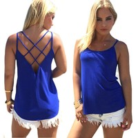 Womens Stylish Backless Cage Cool Top