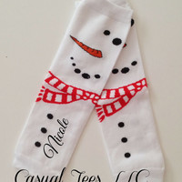Snowman Baby Leg Warmers Personalized