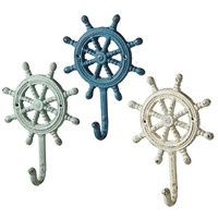 Ship's Wheel Antique Style Weathered Wall Hooks Set of 3