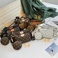 LV Fashionable printed three-piece set with wide shoulder strap and one-shoulder cross-body bag for ladies