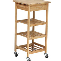 Stylish Bamboo Kitchen Trolley With Drawer And Wine Storage Rack Home Furniture