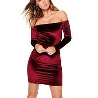 Sexy Off Shoulder Wine Red Velvet Sheath Dress Women Winter Party Long Sleeve 2016 Elegant Pencil Bodycon Ladies Dress Vestidos
