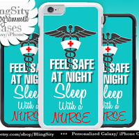 Nursing Nurse Iphone 6 Plus Case Aqua Teal Feel Safe Sleep With Nurse Funny Quote Iphone 4 4s 5 5C Ipod Touch Cover LPN RN Medical