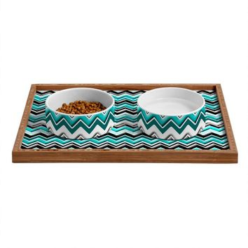 Madart Inc. Turquoise Black White Chevron Pet Bowl and Tray | DENY Designs Home Accessories