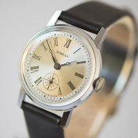 Mint condition men's watch Victory wrist watch silver brown shades premium leather watch gift for men watch USSR