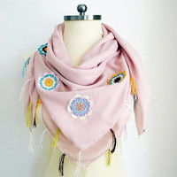 Fringe Scarf Powder Pink Scarf Tassel Scarf Scarf Floral Scarf Hadmade Scarf Belly Dance Scarf Lace Scarf Women Accessory Beach Cover Up