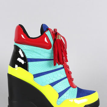 Privileged Colorblock Snake Tassel Lace Up High Top Wedge Sneaker