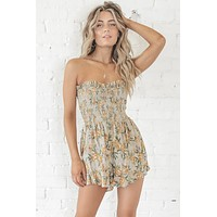 Lazy Beach Day Taupe Smocking Romper