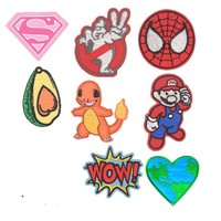 New Pokemon Superhero Ghostbuster Avocado Spiderman Kids Iron On Cartoon Patches For Clothes Badge Embroidered Appliques DIY
