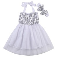 born Baby Girl Headband Princess Dress Party Formal Wedding Dress