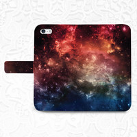Galaxy Space iPhone/smartphone flip PU leather Wallet case for iPhone 6, 6 plus, 5, 5s, 5c, iPhone 4, 4s- Samsung, Note, Nexus 6, HTC M9