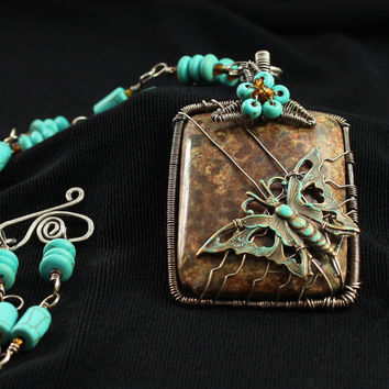 Blue Butterfly Necklace, Silver Wire Wrapped, Turquoise Pendant, Ocean Jasper