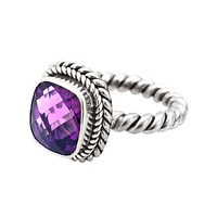 "NKLR-001-AM-9"" Sterling Silver Ring With Amethyst Q."