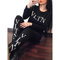Valentino Autumn Winter Women Casual Round Collar Top Pants Set Two Piece Sportswear Black