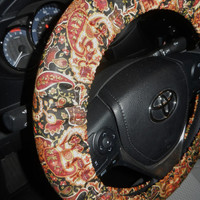 Brown Paisley Steering Wheel Cover-Cotton Wheel Cover-Fall Car Accessory-Girly Car Decor-Unlined or Lined Wheel Cover