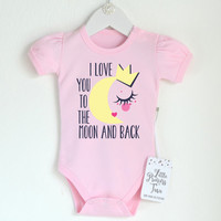 I Love You To The Moon And Back Cute Baby Girl Clothes. Baby Girl Romper With Puff Sleeves. Light Pink Or White. Baby Shower.FREE Gift Card