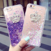 Handmade Crown Case Quicksand Cover for iPhone 7 7Plus & iPhone se 5s 6 6 Plus +Gift Box