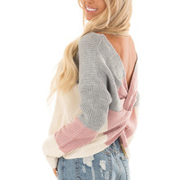 Grey and Mauve Striped Twisted Open Back Sweater