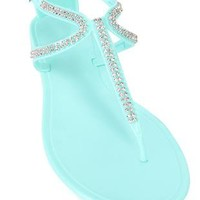 2 strap thong sandal with stone accents - 1000043377 - debshops.com