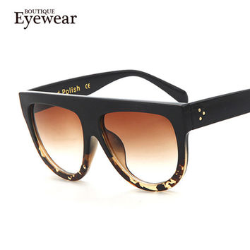 Woman Flat Top Mirror Sun Glasses Cat Eye Sunglasses French brand oculos De Sol