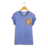 Tribal Arrow Pocket - Hand Stenciled Scoop Neck Rolled Cuffs Women's Scoop Neck Boyfriend Fit Tee in Rust & Heather Blue - S M L XL 2XL 3XL
