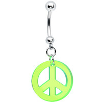 Fluorescent Neon Green Peace Sign Belly Ring | Body Candy Body Jewelry